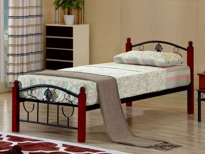 MAGENTA kovová postel s roštem 90x200 cm, dub