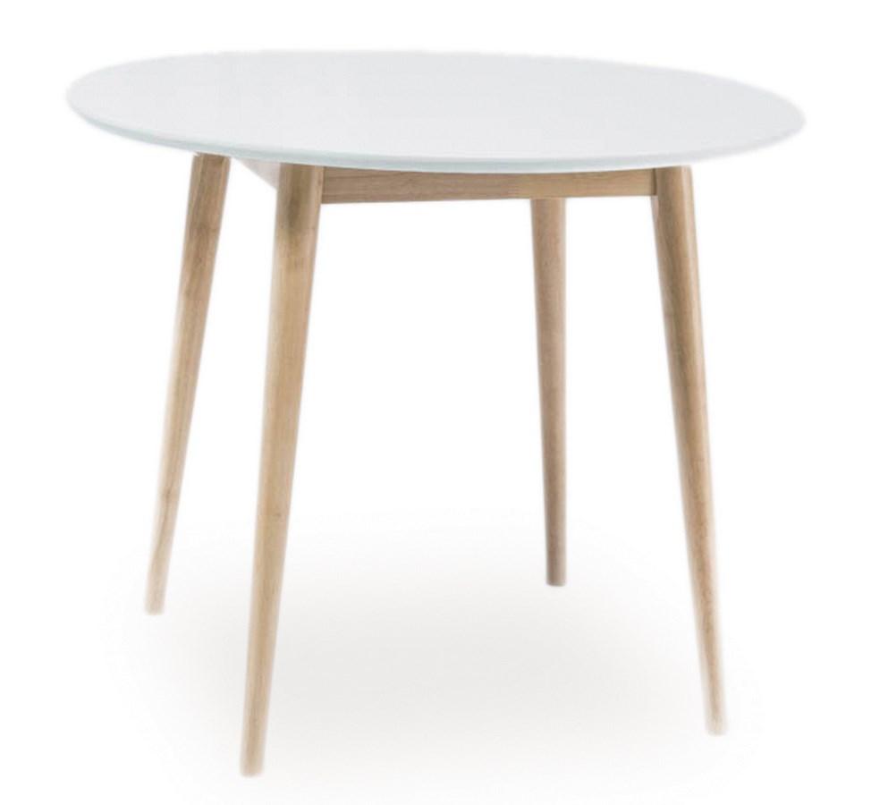 Jídelní stůl kulatý LARSON 90x90 cm, bílá/dub