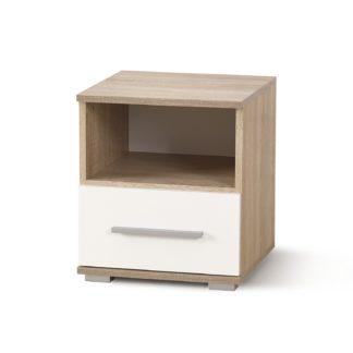 Noční stolek LIMA SN-1, dub sonoma/bílá