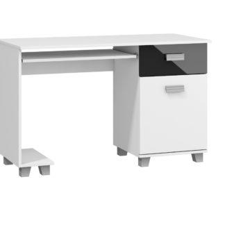 PC stůl se zásuvkou a skříňkou SOLO, SOL-01, bílý/černý lesk
