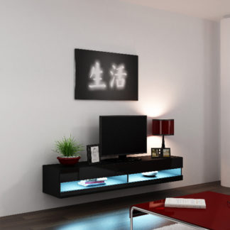 """Televizní stolek VIGO NEW """"180"""", černá/černý lesk"""