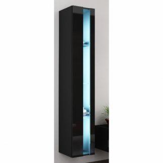 Závěsná vitrína VIGO NEW, černá/černý lesk