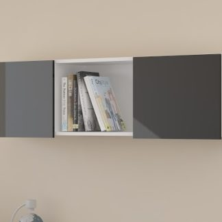 Závěsná skříňka UNO, bílá/černý lesk