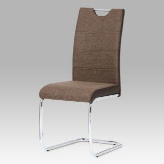 Jídelní židle, látka tmavě hnědá / chrom HC-582 COF2