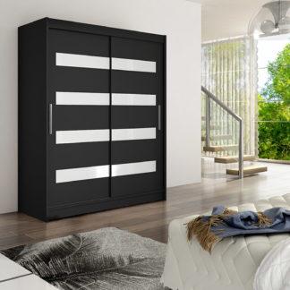 Šatní skříň WESTA IV, černý mat + bílé sklo