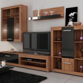 VIKI, obývací stěna, švestka wallis/černý lesk
