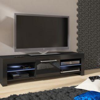 TV stolek FLEX, černá/černý lesk