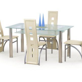 Jídelní stůl CRISTAL mléčný, kov/sklo