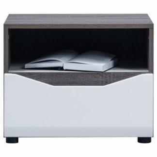 LI 13 - Noční stolek LIONEL LI 13, dub sonoma truflový/bílý lesk