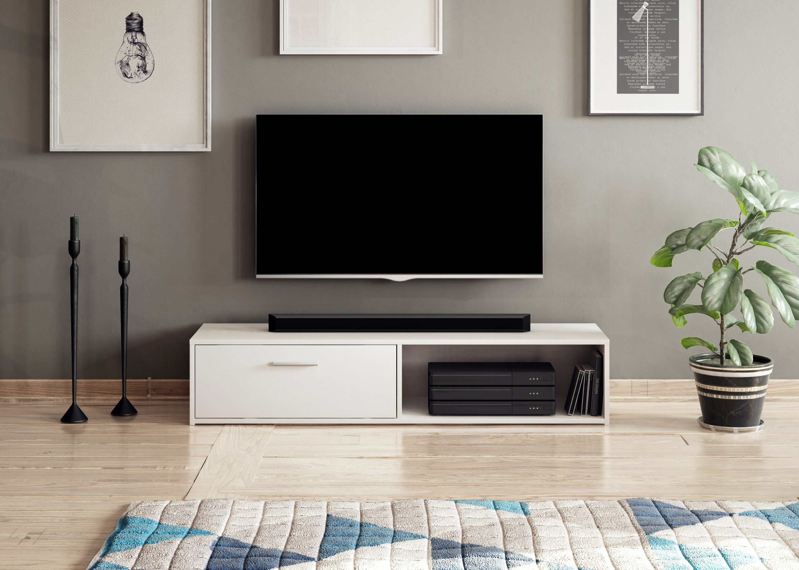 Televizní stolek SIMPLE, bílý mat