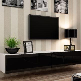 "Televizní stolek VIGO ""180"" plná dvířka, bílá/černý lesk"