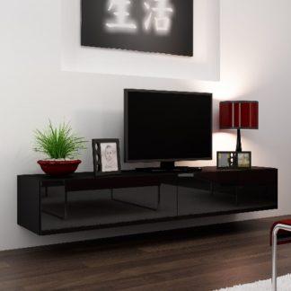 """Televizní stolek VIGO """"180"""" plná dvířka, černá/černý lesk"""