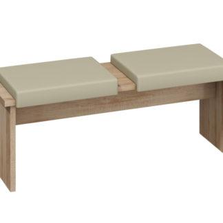 BOND, lavice/taburet velký, dub sonoma sv./béžová ekokůže