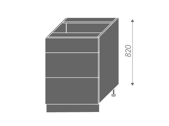 EMPORIUM, skříňka dolní D3E 60, korpus: grey, barva: light grey stone