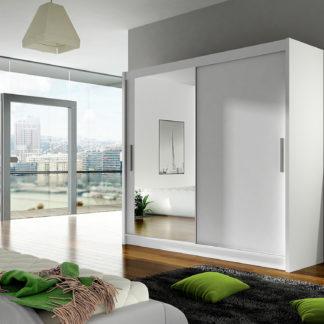 Šatní skříň BEGA VI, bílý mat/zrcadlo