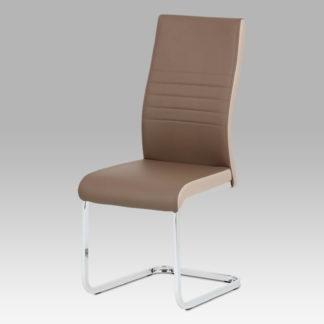 Jídelní židle DCL-429 COF, coffee/cappuccino koženka/chrom