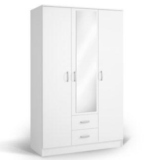 Šatní skříň se zrcadlem IVA 3K2FO, bílá