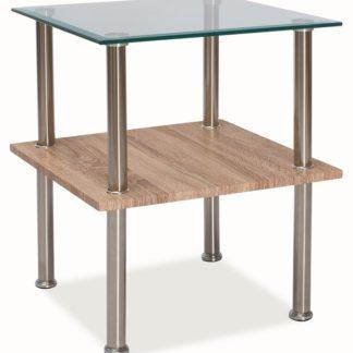 Konferenční stolek ANA, sklo/dub sonoma/chrom