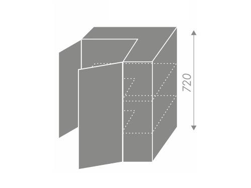 EMPORIUM, skříňka horní rohová W12 60, korpus: lava, barva: white