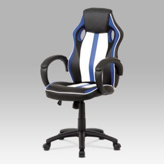 Kancelářská židle KA-V505 BLUE, bílá/modrá/černá