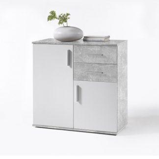 POPPY 4 komoda, bílá / beton