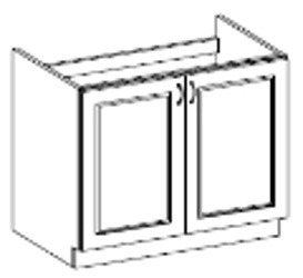 CHAMONIX, skříňka pod dřez 80 ZL 2F BB, dub Ferrara/ legno tmavé