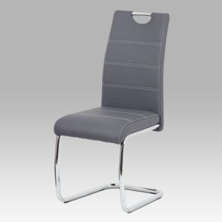 Jídelní židle HC-481 GREY, šedá ekokůže/chrom