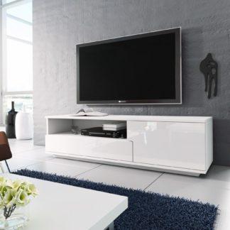 Televizní stolek RTV 2, bílá/bílá lesk