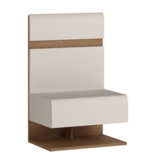 LINATE/95, noční stolek, alpská bílá/trufla
