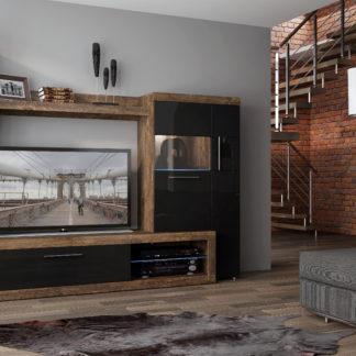 Obývací stěna SICILLY, hidalgo/černý lesk