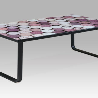 """Konferenční stolek 105x55x32, sklo s potiskem """"korek""""/černá, CT-1010 CORK"""