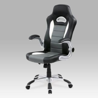 Kancelářská židle, PU černo-šedá, KA-N240 GREY