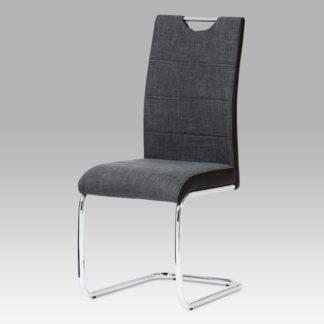 Jídelní židle, látka šedo-černá / chrom HC-582 BK2