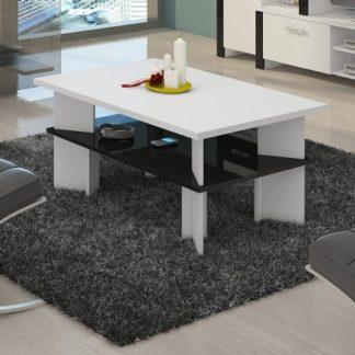 Konferenční stolek VECTRA 2, bílá/černý lesk