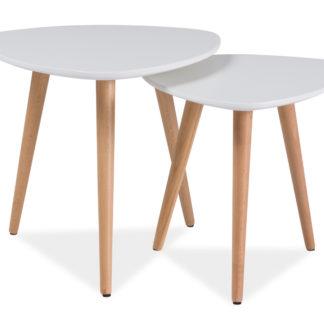 Konferenční stolky - komplet NOLAN A, bílá/buk