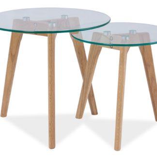 Konferenční stolky sestava OSLO S2 - 2 kusy, dub/sklo