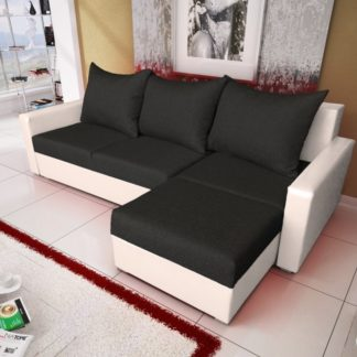 Rohová sedačka MALAGA BIS 4, černá látka/bílá ekokůže