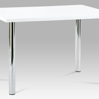 Jídelní stůl AT-1914B WT 120x75 cm, chrom / vysoký lesk bílý