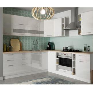 Rohová kuchyně TIFFANY 245x240 cm, bílý lesk