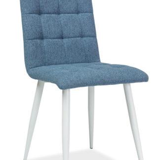Jídelní čalouněná židle OTTO, modrá/bílá