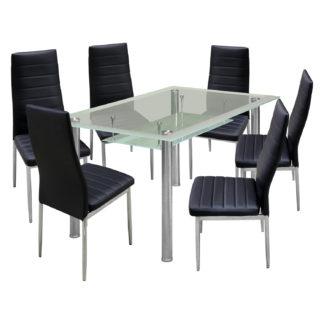 Jídelní stůl VENEZIA + 6 židlí MILÁNO černá