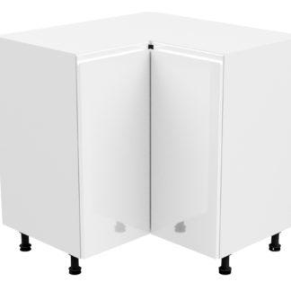 ASPEN, skříňka dolní rohová D90N pravá, bílá/bílý lesk