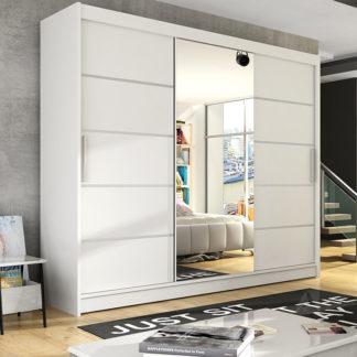 Šatní skříň ASTON VI, bílá/zrcadlo