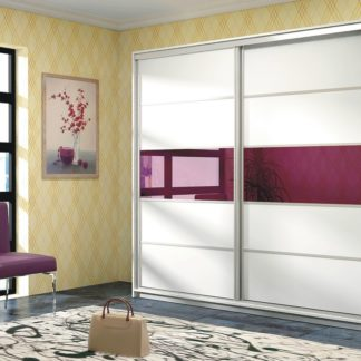 DUBAJ, šatní skříň, bílá/fialové sklo