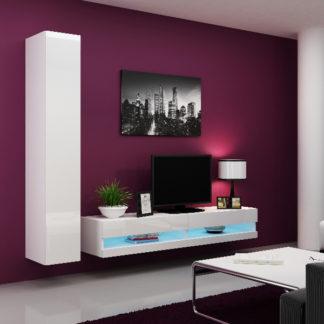 Obývací stěna VIGO NEW 9, bílá/bílý lesk