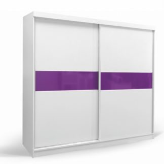 Skříň šatní GD 240, bílá/fialová