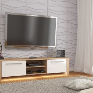 TV stolek HELIX NEW, dub sonoma/bílý lesk