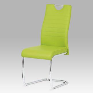 Jídelní židle, koženka zelená / chrom DCL-418 LIM