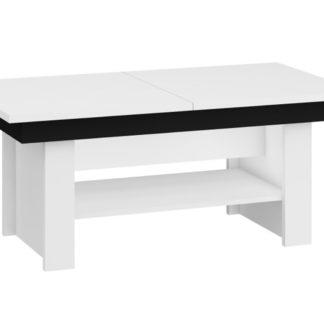 Konferenční stolek MEXICO rozkládací LESK, barva: bílá/černý lesk