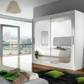 Šatní skříň BEGA VIII, bílý mat/zrcadlo